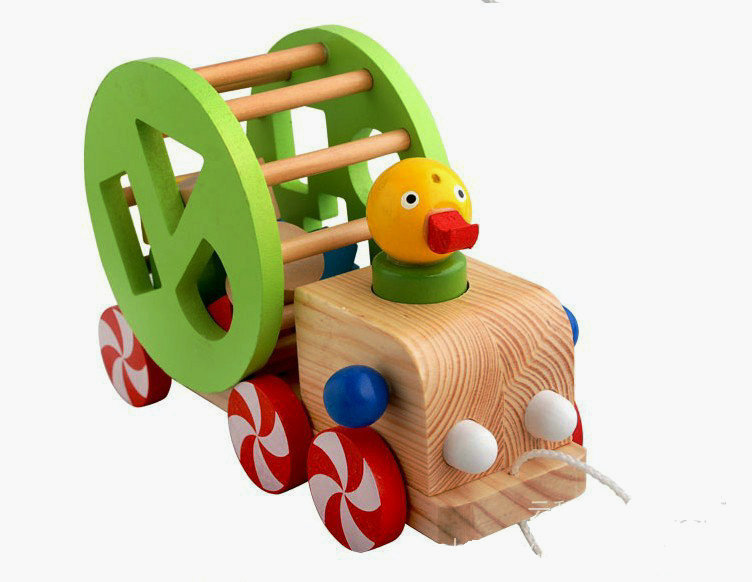 free shipping wisdom duck pull carkids wooden classic shape of cognitive toys animal toys trailer childrens educational toys