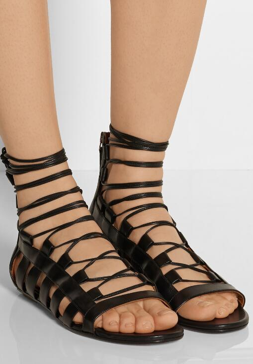 2018 Summer Fashion Open Toe Women Lace Up Sandals Cut Out Style Ladies Flat Sandals Zipper Back Female Dress Sandals Size42 summer new fashion cross tied lace up straps women black leather sandals sexy open toe zipper back chunky heel sandals