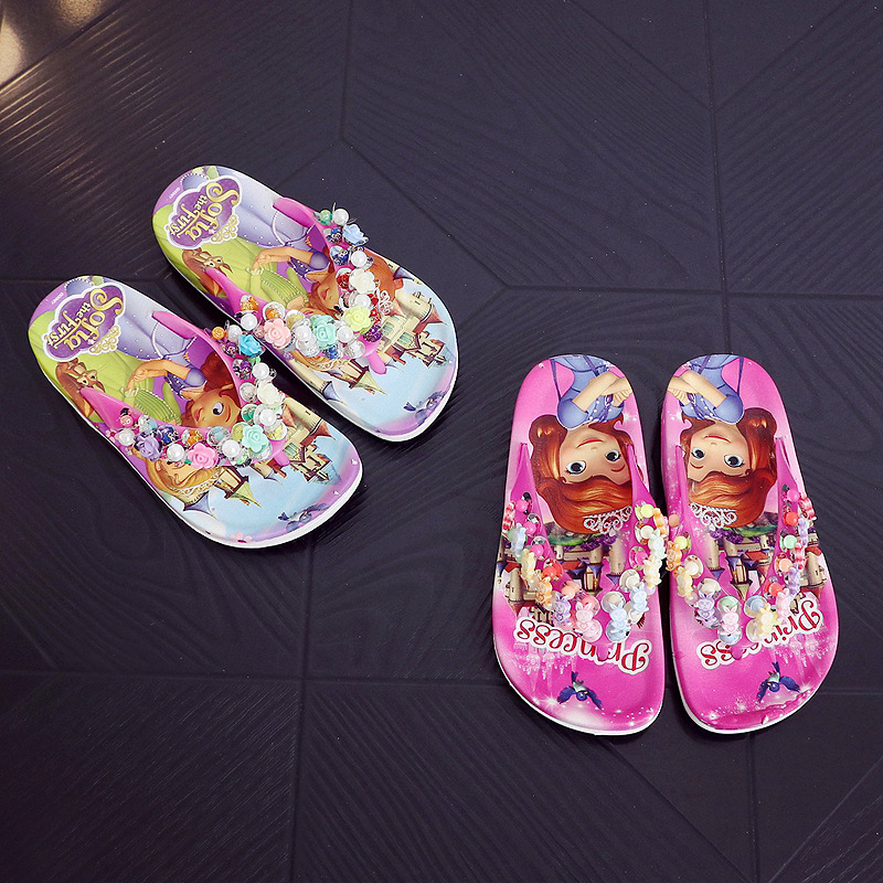 Children Girls Summer Princess Sandals Beach Slippers Cartoon Fashion Lovely Beading Non-slip Flip Flops Casual Shoes Size 24-35