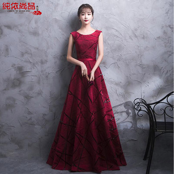 New arrival elegant prom party dresses formal dress sequin pattern A-line Burgundy evening gowns vestido noiva sereia
