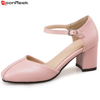 MoonMeek 2018 new sweet female shoes round toe high heels with buckle pink white black color casual pumps women shoes