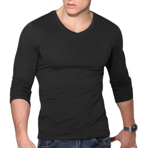 32508977 Fashion Men's Slim Fit V Neck Long Sleeve Muscle Shirt Fashion New Males  Casual Tops Solid Color Cotton Blouse