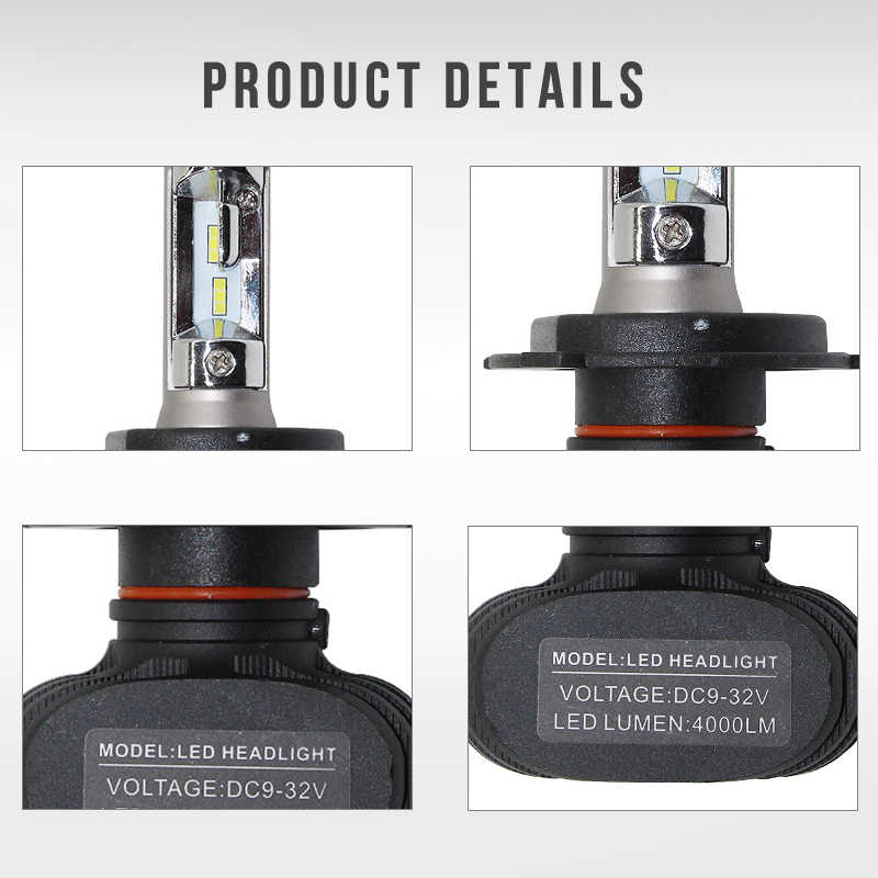 MON-SU 2Pc Car LED Headlight H4 H7 Fog Light Bulb H8 H11 9005/HB3 9006/HB4 H3 H1 880/881 CSP S1 50W 8000LM 6000K Automobile Bulb