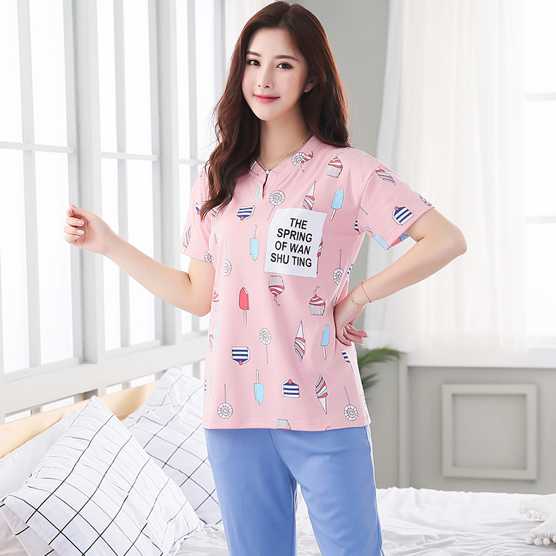 7cbf64fe41377 New Summer Women s Pajamas Cotton Cartoon Print Pajama Sets Girls Lace Sleepwear  Mujer Pyjamas Plus Size 3XL Casual Home Fashion-in Pajama Sets from Women s  ...