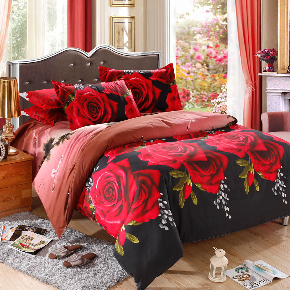 Bed sheet set with quilt - Red Rose Pattern 4pcs 3d Printed Bedding Set Bedclothes Home Textiles King Size Quilt Cover Bed