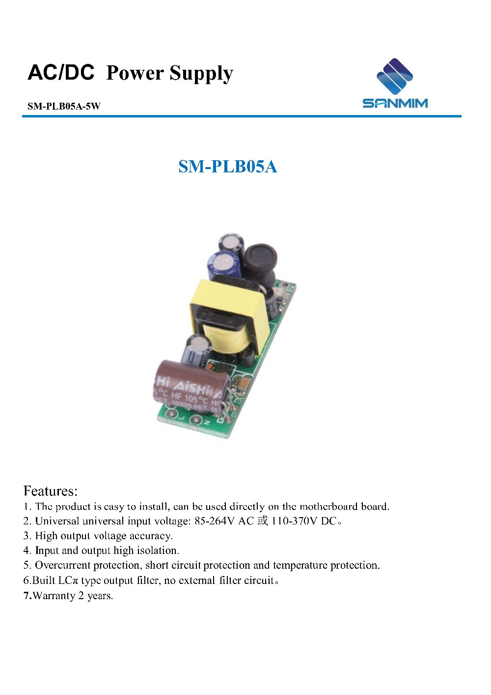 New Sanmim 5w Ac Dc 220v To Dc15v 04a Isolated Switching Power Type Of Filter Circuit Voltage Switch Supplyinverter Special Supply And All Kinds Electronic Product Development Design Production Upgrading Etc
