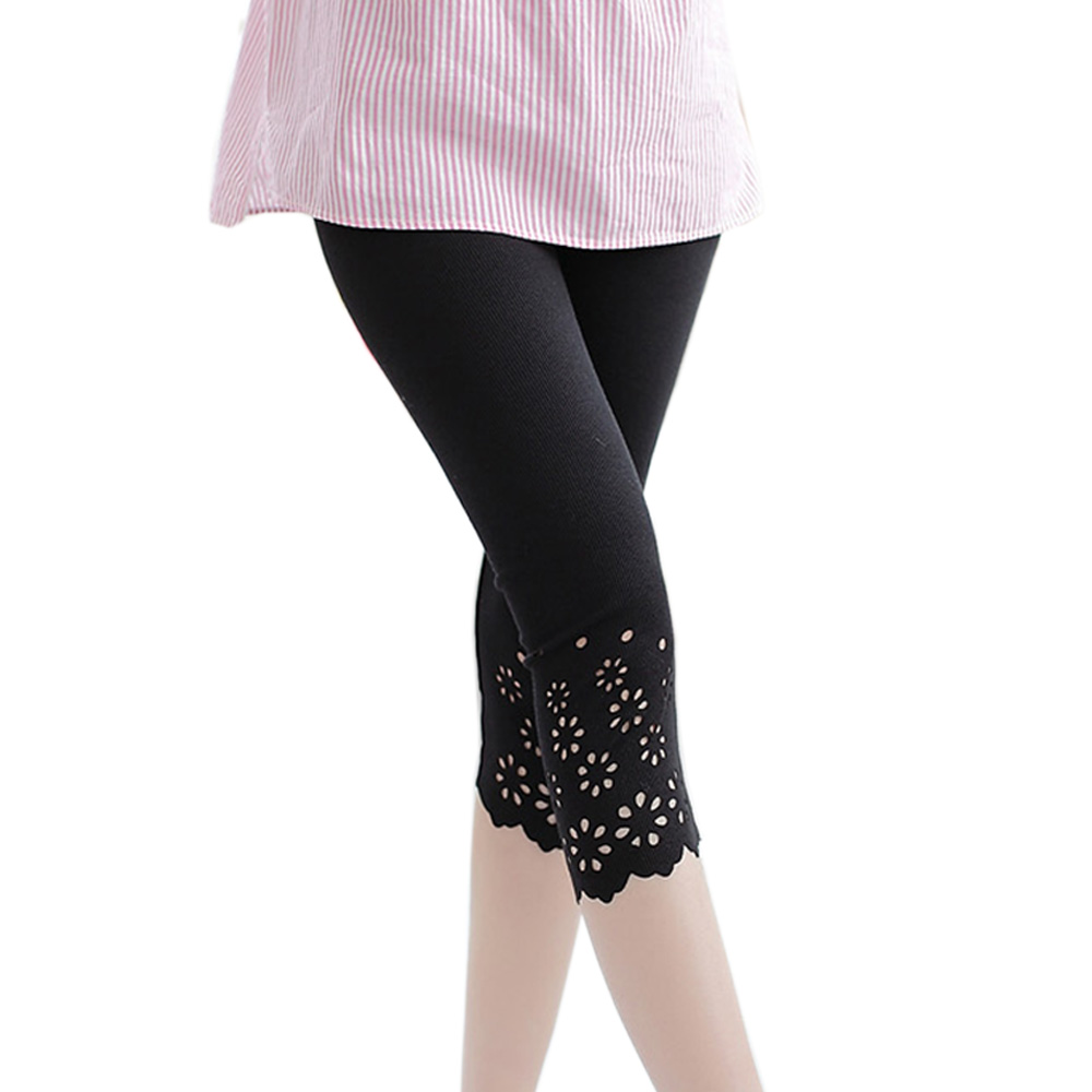 M-XXL Casual women leggings Summer Cotton Knitted Flower Solid Color Midi Leggins Work Out Girls Leggings Stretched Pants
