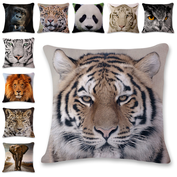 Animal Series Cushion Cover Home Decor Tiger Elephant Monkey Throw Pillows Covers Cotton Linen Pillowcase For Sofa Decoration