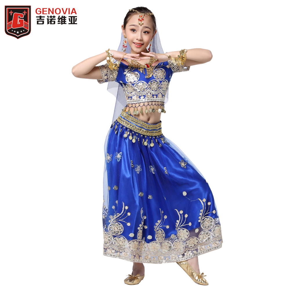 Children Kid s Belly Dance Chiffon Bollywood Costume Indian Dance Outfit Halloween 5pcs Set Top Belt