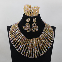 Luxury Chunky Statement Crystal Necklace Champagne Gold Bride Jewellery Set for Wedding Gold Women Jewelry Set Free ShipABL877
