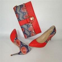 מותג אביב קיץ נשים גבוהה עקבים נעלי הבוהן מחודדת אדום תפרים 10CM משאבות אופנה סקסית נעלי התאמה מצמד תיק a93 9