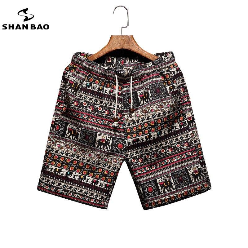 Hommes de shorts de plage personnalité impression 2018 d'été section mince respirant confort hommes occasionnels short en lin grande taille M-5XL