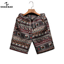 Men's beach shorts personality printing 2017 summer thin section breathable comfort casual men's linen shorts large size M-5XL