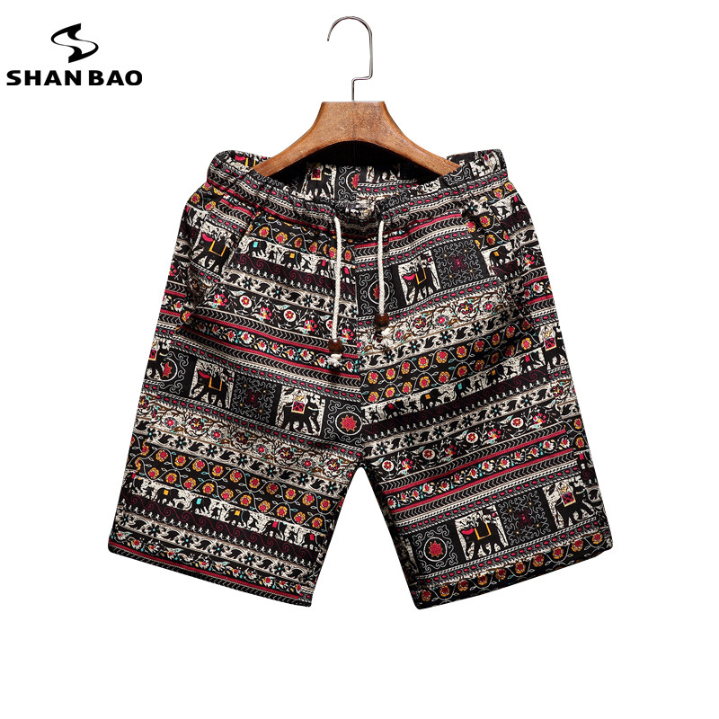 Men's beach shorts personality printing 2018 summer thin section breathable comfort casual men's linen shorts large size M-5XL