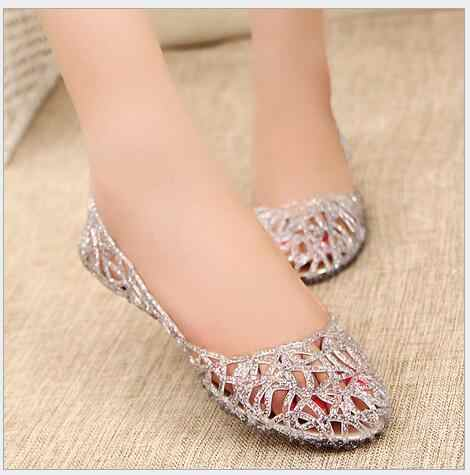 e411c11cd276af ... Summer Bird s Nest Sandals Shiny Crystal Flat with Jelly Shoes  Flat-bottomed Hole Shoes Female