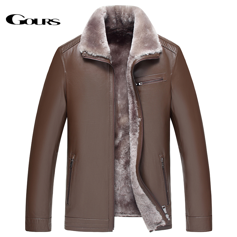 Gours Winter Genuine Leather Jacket for Men Fashion Brand Brown Sheepskin Jackets and Coats with Wool Lining New Arrival HS1735