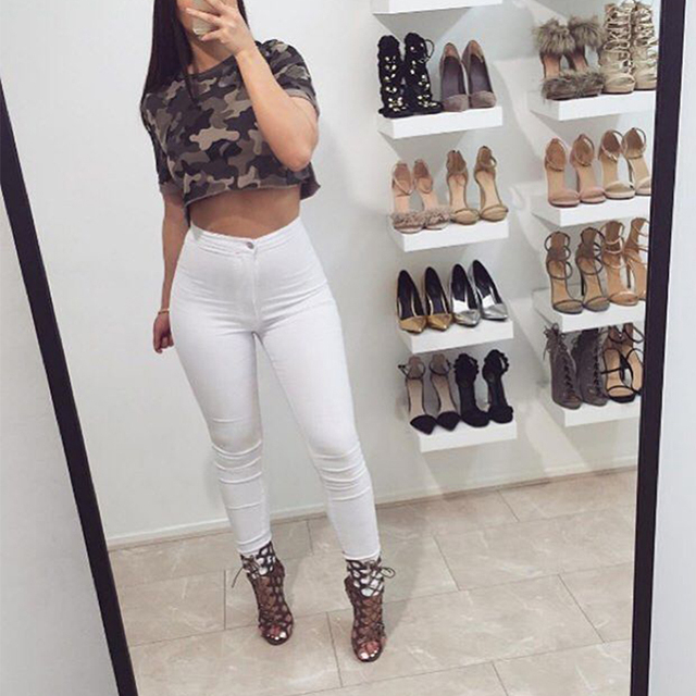 2016 New Sexy Women Fashion Jeans High Waisted Pencil Stretch Deim Pants Jeans Soft Skinny Stretchy Skinny Pants Slim Jeggings
