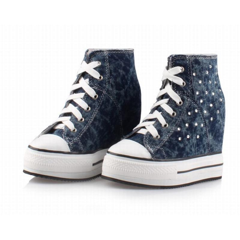 Buy new fashion denim canvas high top lace up wedge heels height increasing casual shoes rhinestone thick bottom high platform boots for only 108 USD
