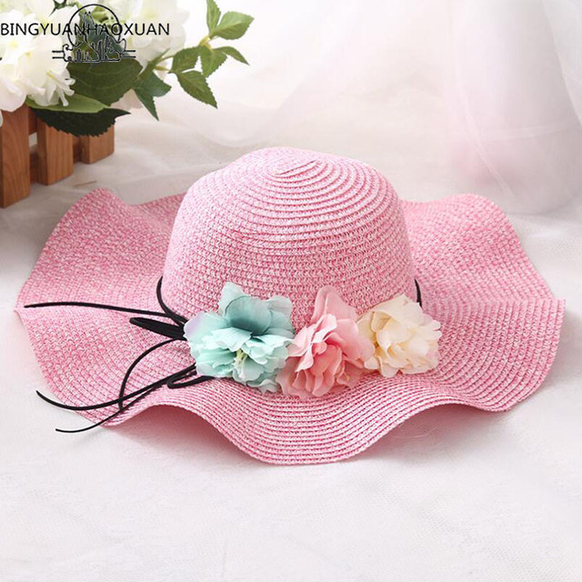 BINGYUANHAOXUAN 2018 New Summer Girls Straw Hats for Kids Baby Sun Hat with  Flowers Summer Hat 59a2c01ea60