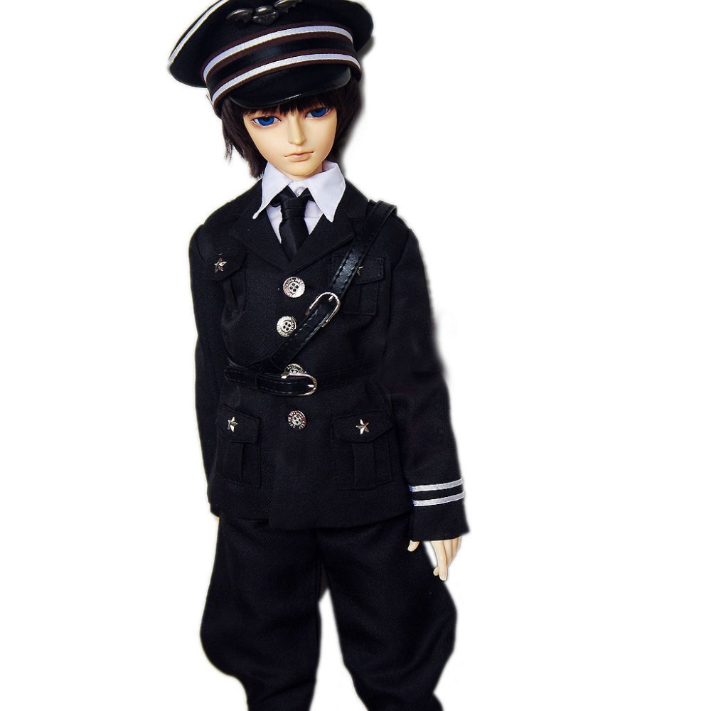 [wamami] 501# 6pcs Black Military Uniform/Suit/Outfit Set 1/4 MSD 1/3 SD AOD SD17 DZ70 70cm BJD Doll Dollfie