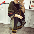 Faux Cashmere Scarf 2015 Autumn Winter Woolen Blends Shawl Thickening Plaid Thermal Large Cape Female Wraps