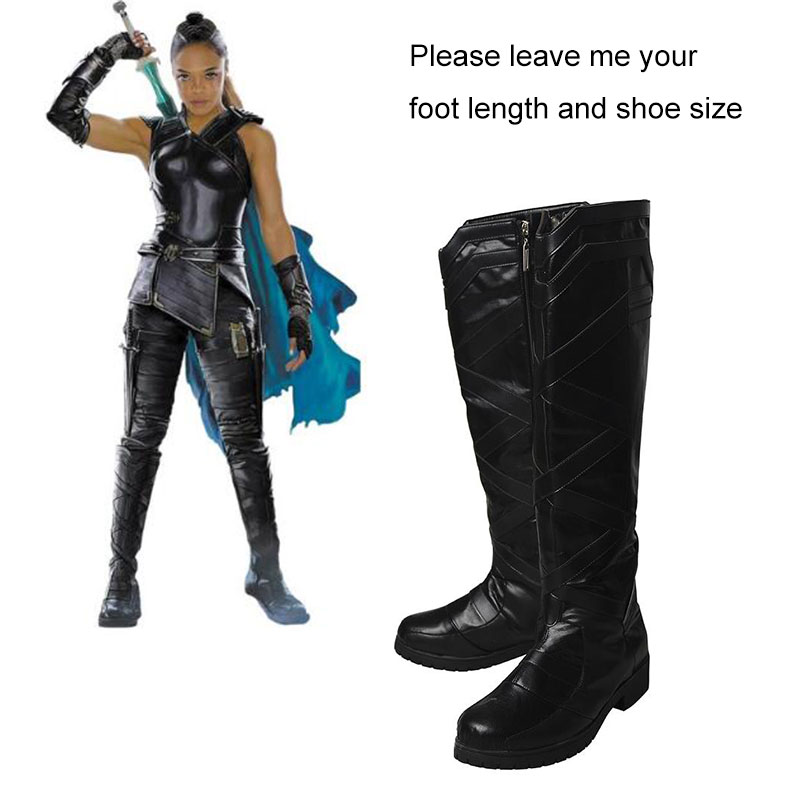 Thor Ragnarok Valkyrie Cosplay Boots Movie Shoes Halloween Props Thor 3 Cosplay Costume Accessory Black Leather
