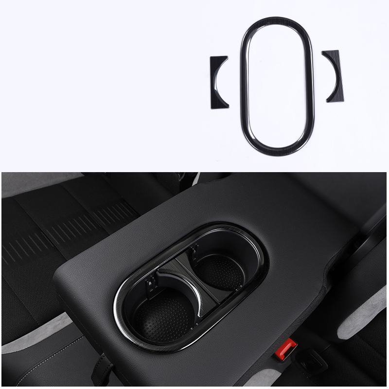 lsrtw2017 titanium black car 2nd row armrest cup frame trims for volkswagen t roc 2017 2018 2019 2020 in Interior Mouldings from Automobiles Motorcycles