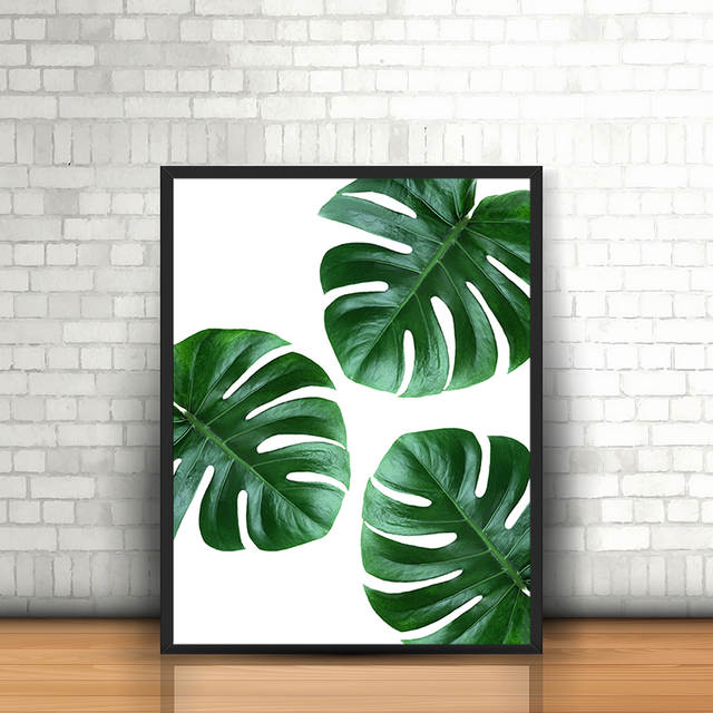 Canvas Painting Tropical Plant Leaves Monstera Deliciosa Nordic