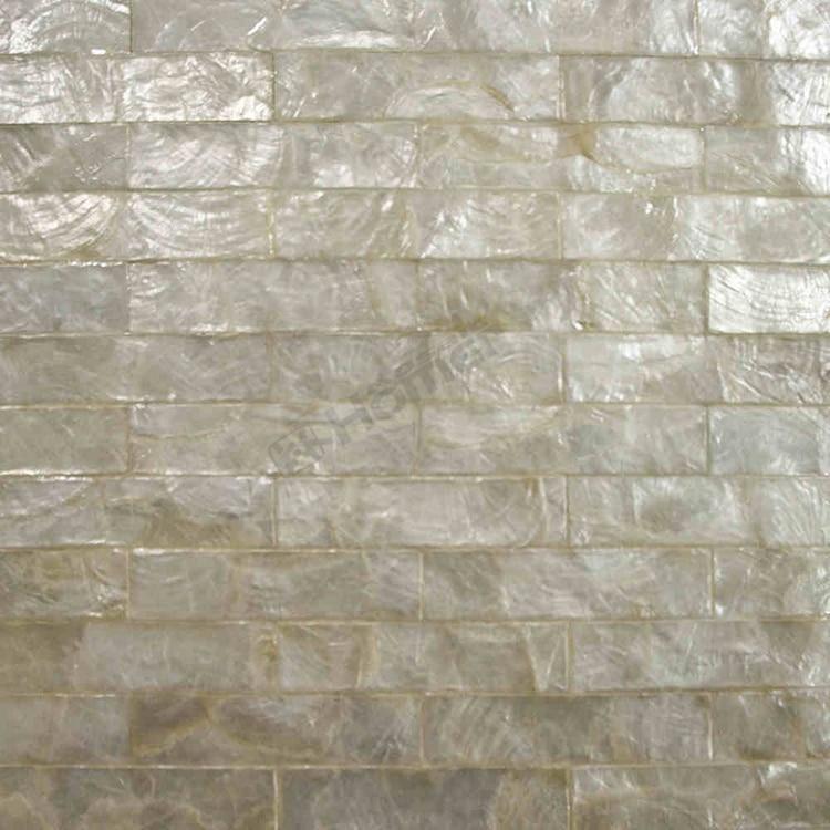 white capiz tiles mesh backing, for wall decor, kitchen backsplash ...
