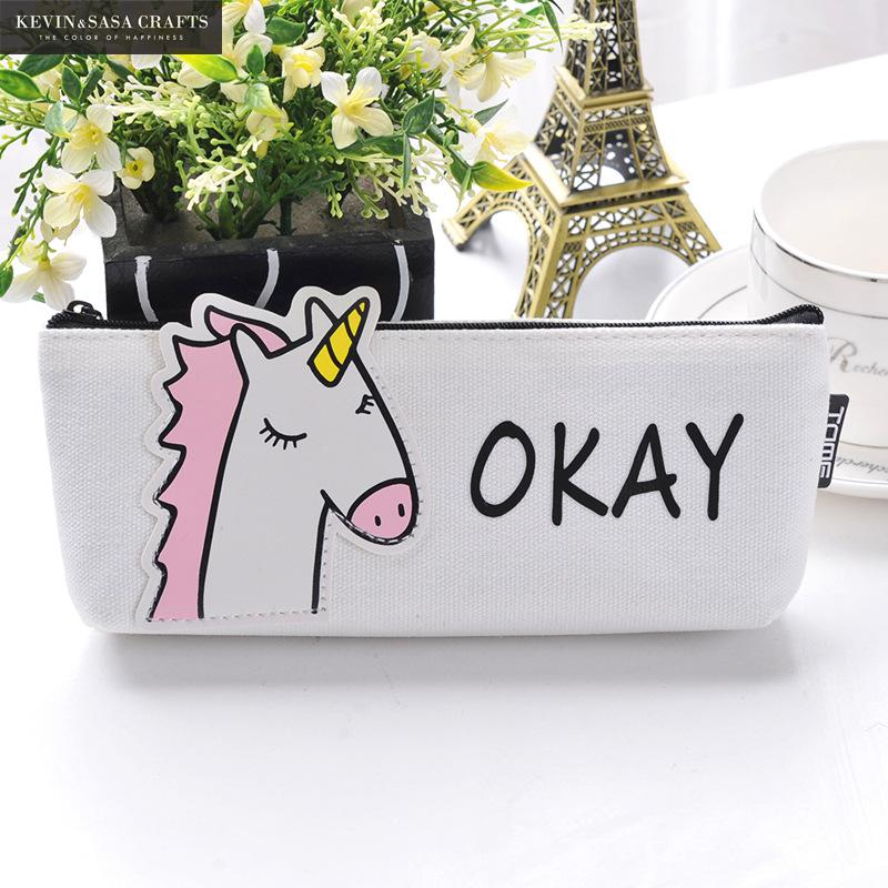 Animal Pencil Case Canvas Unicorn School Supplies Stationery Gift Students Cute Pencil Box Pencilcase Pencil Bag School Tool 1pc cute animal dinosaur pencil case canvas pencil bag pen box stationery school supplies multilayer gift random with lock