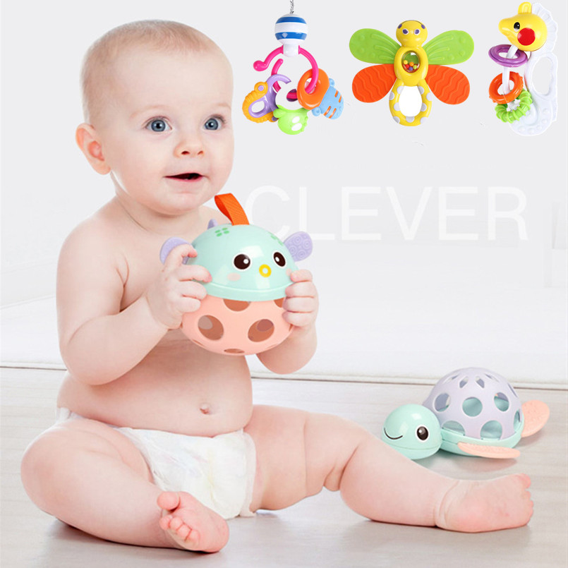 Toys For Baby 0-12 Month Plastic Animal Model Toy Toddler Boy Teether Rattle Crib Mobile Frog Toys For Children Sensory Toys(China)