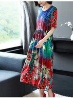 Европейский станция высокого класса качество позиционирования напечатаны чистого шелка платье с талии и тонкий шелк тутового шелкопряда п
