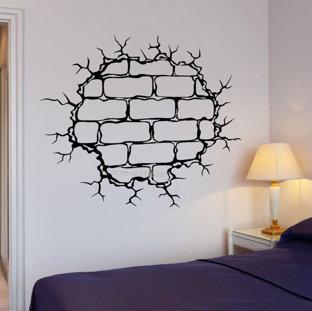 Charmant New Creative Wall Decal Brick Wall Crack Hole Pattern Decor Destruction  Vinyl Decal Art Wall In