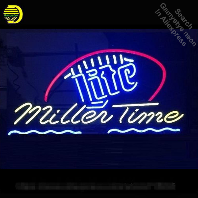 Neon Sign for Its Miller Time Lite Neon Tube vintage Bright sign handcraft Lamp Store Displays Tube Glass Neon Flashlight sign