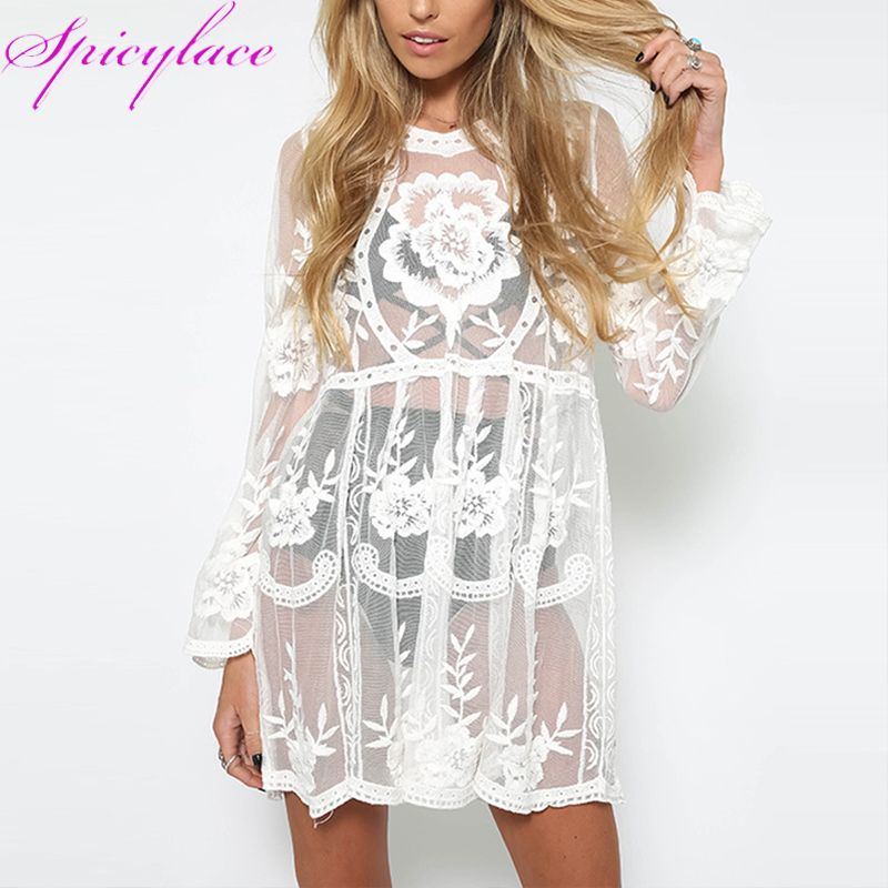 Spicylace Kvinnors Beach Cover Solskyddsmedel Hollow Out Lace Eleganta Klänningar O Hals Blom Crochet Solid Short Sexy Dress Vestidos
