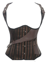 Ivy Shi Women S Underbust Steel Boned Vest Satin And Leather Brown Steampunk Corset