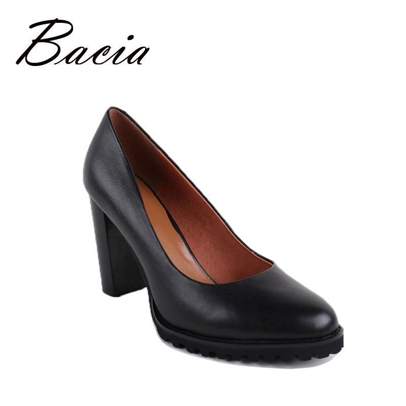 Bacia Black Heels Women Round Head Square Heel Pumps High Heels Genuine Leather Fashion Casual Shoe 2016 Free Shipping VB005