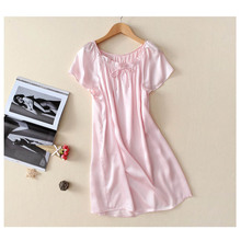 New 100% Pure Silk Nightgown Basic Nightdress Soft Sleepwear Fashion Summer Dress for Skin Care Multicolor