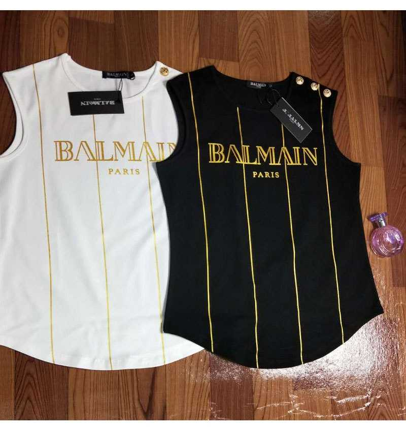 balmain shirt Spring Summer Tank Tops Women Sleeveless Round Neck Loose T Shirt Gold  Button Gold Letter Vertical