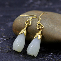 S925 silver jewelry fashionable lady gold and jade earrings with new jewelry free postage certificates