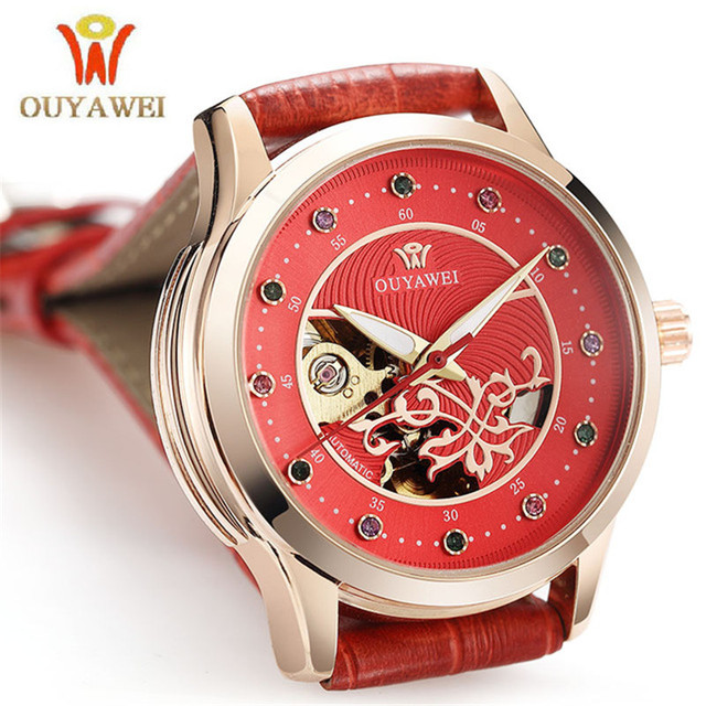 2019 OUYAWEI Brand Women's Red Watch Skeleton Mechanical Automatic Women Wrist Watches elegant watch for ladies Genuine Leather
