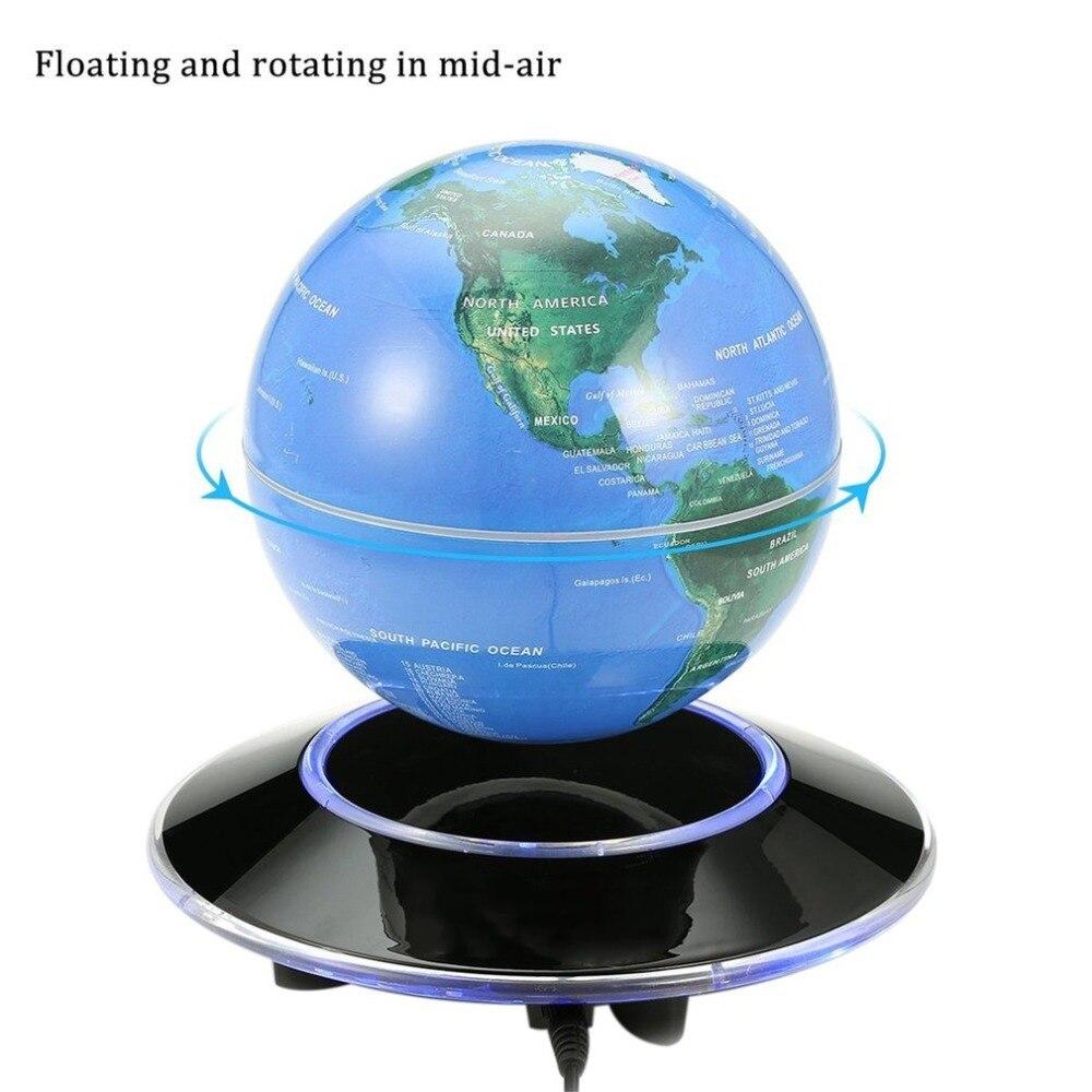 6 pulgadas mapa del mundo globe levitación magnética Globo flotante mapa giratorio luz LED globo niños juguetes educativos decoración del hogar