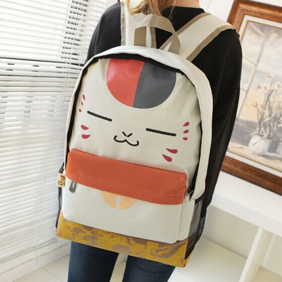 2017 NEW Cute Face Print Pu Schoolbag Beige Plush Cat Canvas Backpack Women  Student School Leisure Cartoon Book Laptop Bag -in Backpacks from Luggage    Bags ... d413ce901857d