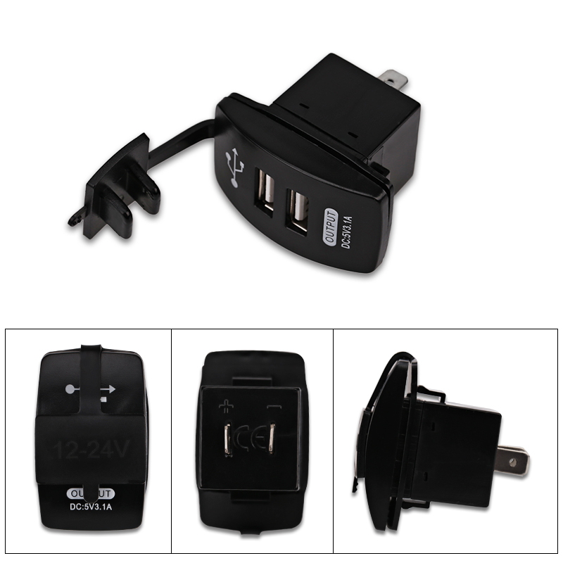 Waterproof Car Dual Usb Socket Car Charger Power Adapter 3.1a 5v Output 12-24v Led Light For Usb Mobile Charger For Iphone 6 6s #4