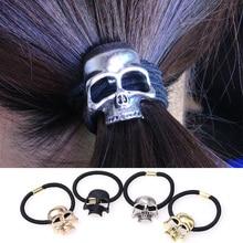Halloween Retro Punk Gothic Metal Skull Hair Tie Fashion Birds Crow Skull Elastic Hair Bands