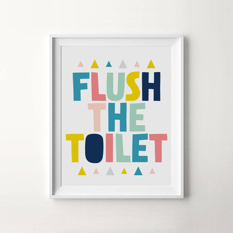 Bathroom rules canvas art print decoration