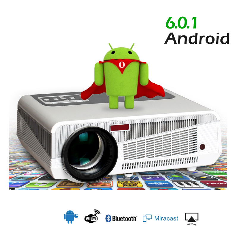 2019 Max5500lumens Android 6.0.1 Hd Led Wifi Slimme Projector 230 W 3d Home Theater Lcd Video Projector Beamer Met Bluetooth 4.0 Jade Wit