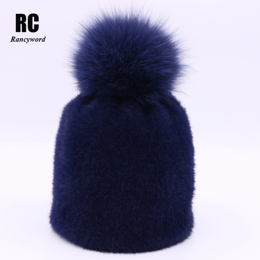 [Rancyword] 2017 New Real Fur Hats For Women Winter Warm Cashmere Beanies Femme Knitted Fur Ball Hats Mink velvet 5 COLOR RC1212 2016 new beautiful colorful ball warm winter beanies women caps casual sweet knitted hats for women outdoor travel free shipping