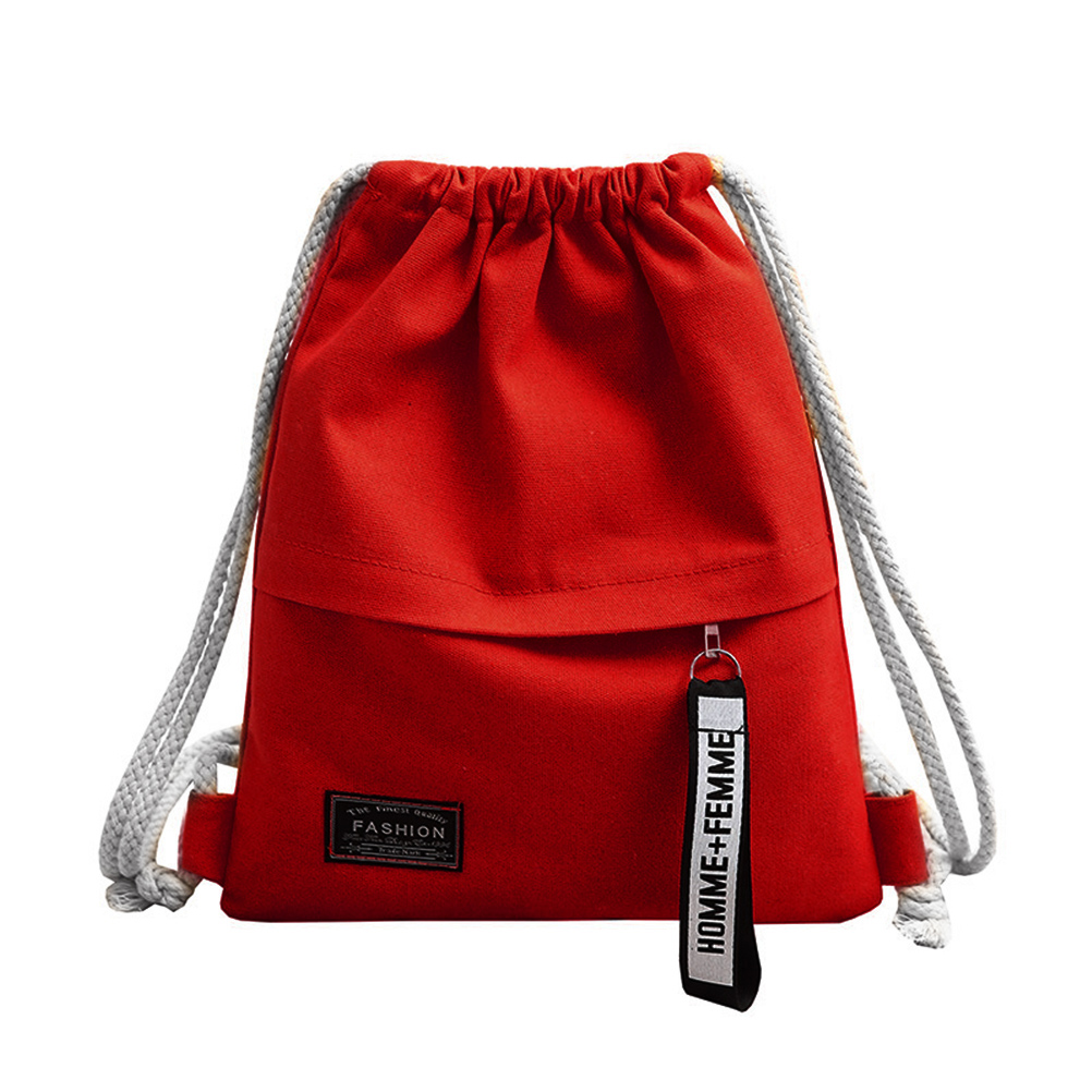 Women New Bagpacks School Sports Canvas Drawstring Bag Sack Fitness Zipper Storage Pack Rucksack Backpack Female Travel Bags