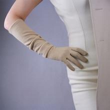 Cashmere Gloves Wool 50cm Long Section Elbow Elastic Female Models Fine Retro French Elegant TB42